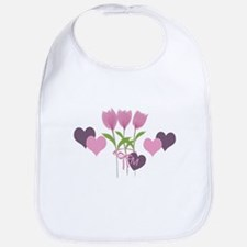 Pink Tulip Monogram Bib