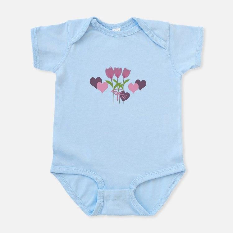 Pink Tulip Monogram Infant Bodysuit