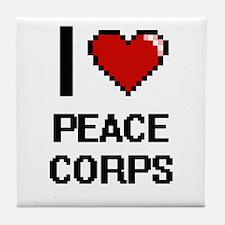 I Love Peace Corps Digital Design Tile Coaster