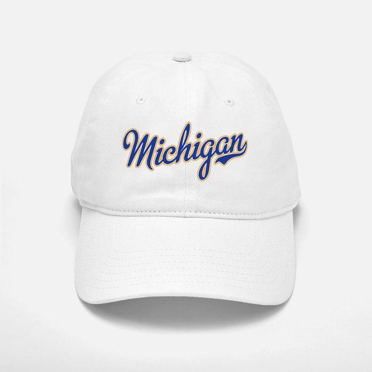 Michigan Script Font Baseball Baseball Baseball Cap