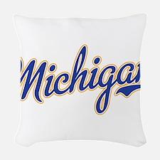 Michigan Script Font Woven Throw Pillow