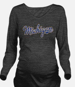 Michigan Script Font Long Sleeve Maternity T-Shirt
