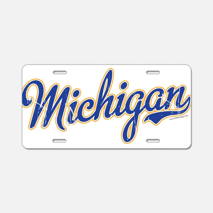 Michigan Script Font Vintage Aluminum License Plat