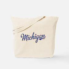 Michigan Script Font Vintage Tote Bag