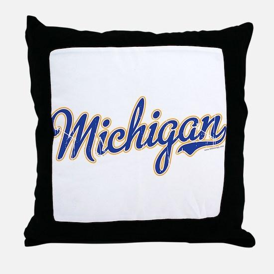 Michigan Script Font Vintage Throw Pillow