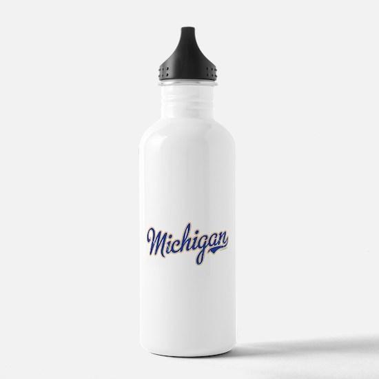 Michigan Script Font Vintage Water Bottle