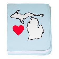 I Love Michigan baby blanket