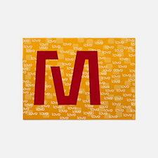 Cool Bright Monogram 5'x7'Area Rug