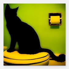 """Toilet Cat Square Car Magnet 3"""" x 3"""""""