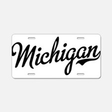 Michigan Script Black Aluminum License Plate