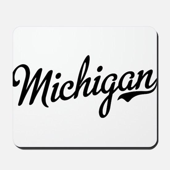 Michigan Script Black Mousepad