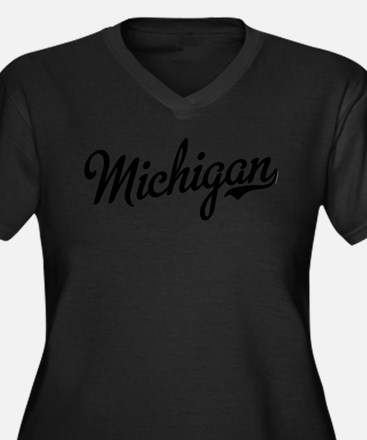Michigan Scr Women's Plus Size V-Neck Dark T-Shirt