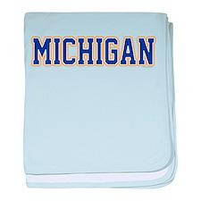 Michigan Jersey Blue baby blanket