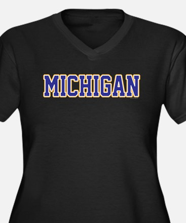 Michigan Jer Women's Plus Size V-Neck Dark T-Shirt
