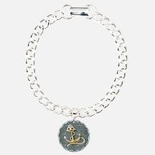 ocean blue wood anchor Bracelet