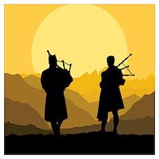 Scottish bagpipe sunset Poster