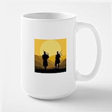 Scottish bagpipe sunset Large Mug
