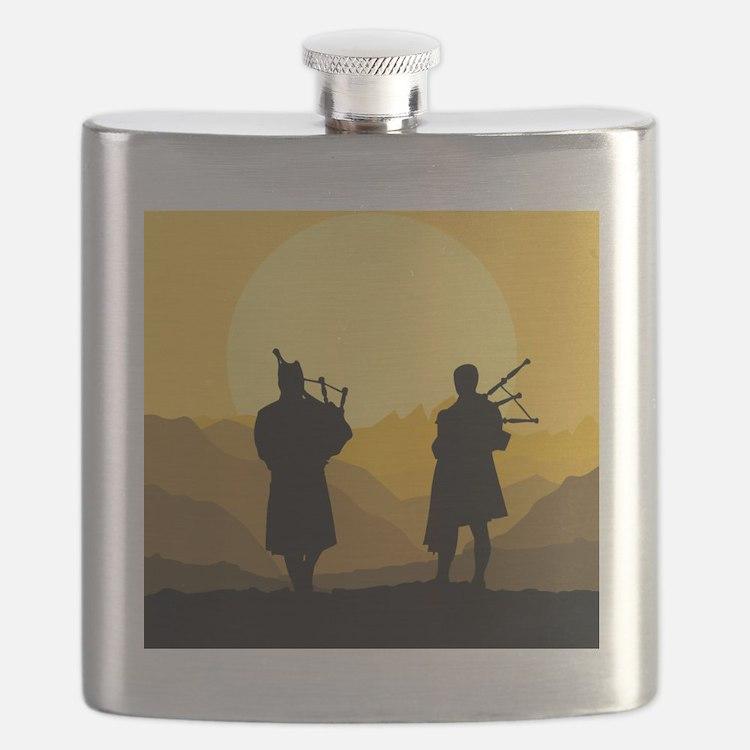 Scottish bagpipe sunset Flask