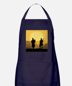 Scottish bagpipe sunset Apron (dark)