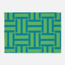 Nautical Green and Blue T weave 5'x7'Area Rug