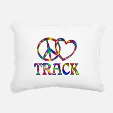 Peace Love Track Rectangular Canvas Pillow
