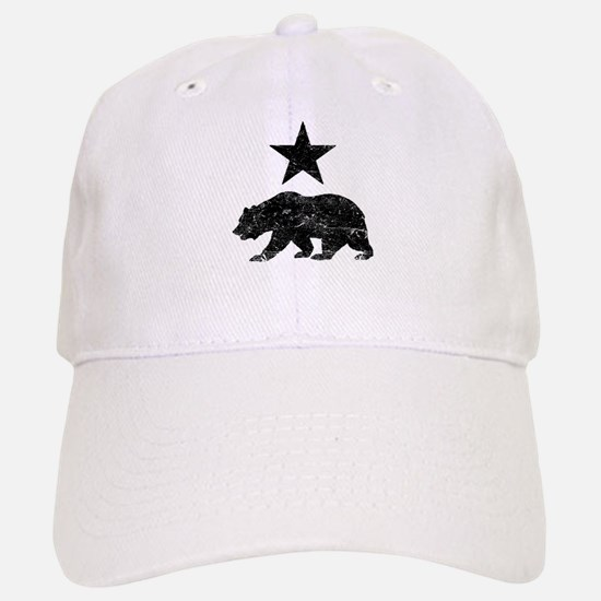 California Republic distressed Bear and Star Baseball Baseball Cap