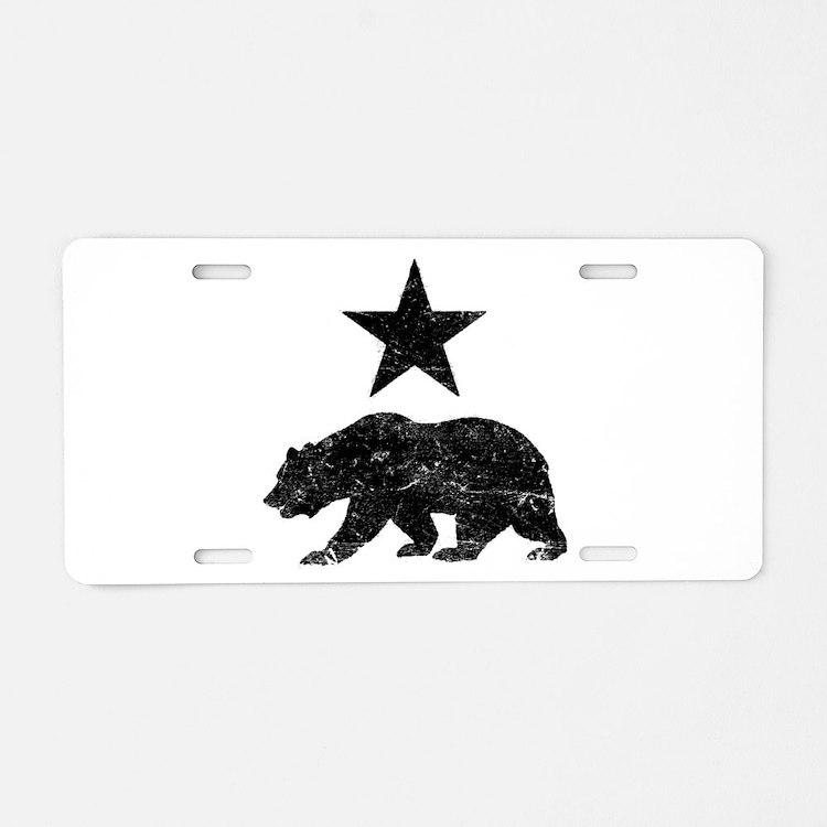 California Republic distres Aluminum License Plate