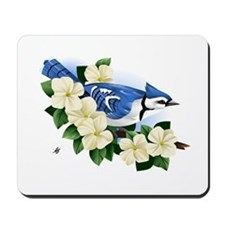 Blue Jay And Dogwood Flower Mousepad
