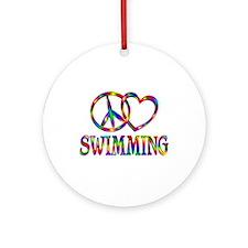 Peace Love Swimming Round Ornament
