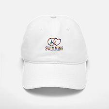 Peace Love Swimming Baseball Baseball Cap