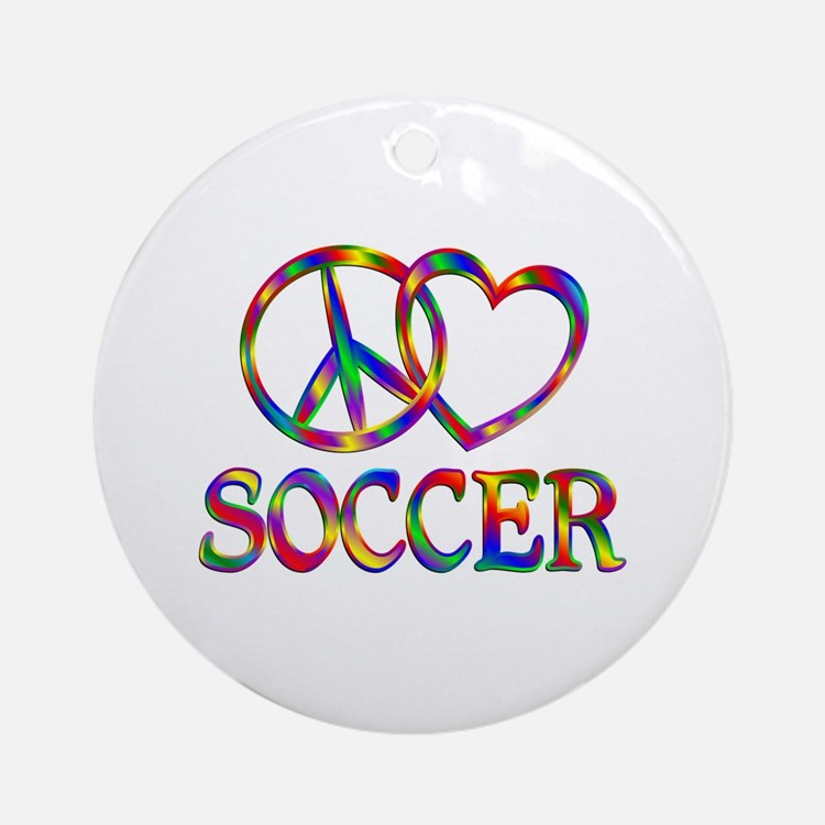 Peace Love Soccer Round Ornament