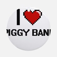 I Love Piggy Bank Digital Design Round Ornament