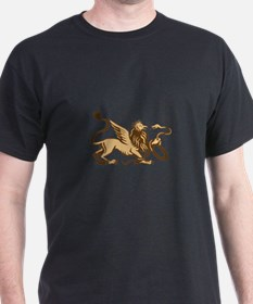 Griiffin Snake Side View Woodcut T-Shirt