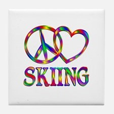 Peace Love Skiing Tile Coaster