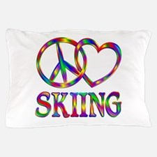 Peace Love Skiing Pillow Case