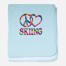 Peace Love Skiing baby blanket