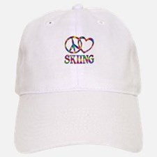 Peace Love Skiing Baseball Baseball Cap