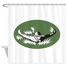 Swimmer Butterfly Stroke Swimming Woodcut Shower C