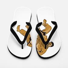 Judo Combatants Throw Front Etching Flip Flops