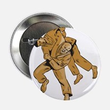 """Judo Combatants Throw Front Etching 2.25"""" Button ("""
