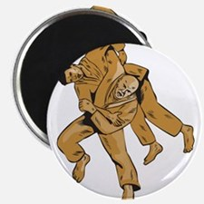 Judo Combatants Throw Front Etching Magnets