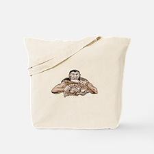 Neanderthal Man Eating Paleo Diet Etching Tote Bag