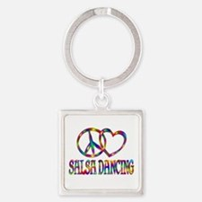Peace Love Salsa Dancing Square Keychain