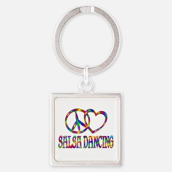 Peace Love Salsa Dancing Square Keychain