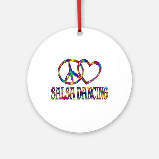 Peace Love Salsa Dancing Round Ornament