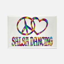 Peace Love Salsa Dancing Rectangle Magnet