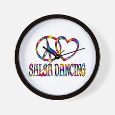 Peace Love Salsa Dancing Wall Clock