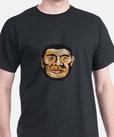 Neanderthal Man Head Etching T-Shirt