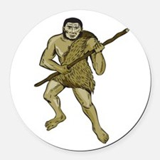 Neanderthal Man Holding Spear Etching Round Car Ma