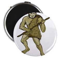 Neanderthal Man Holding Spear Etching Magnets